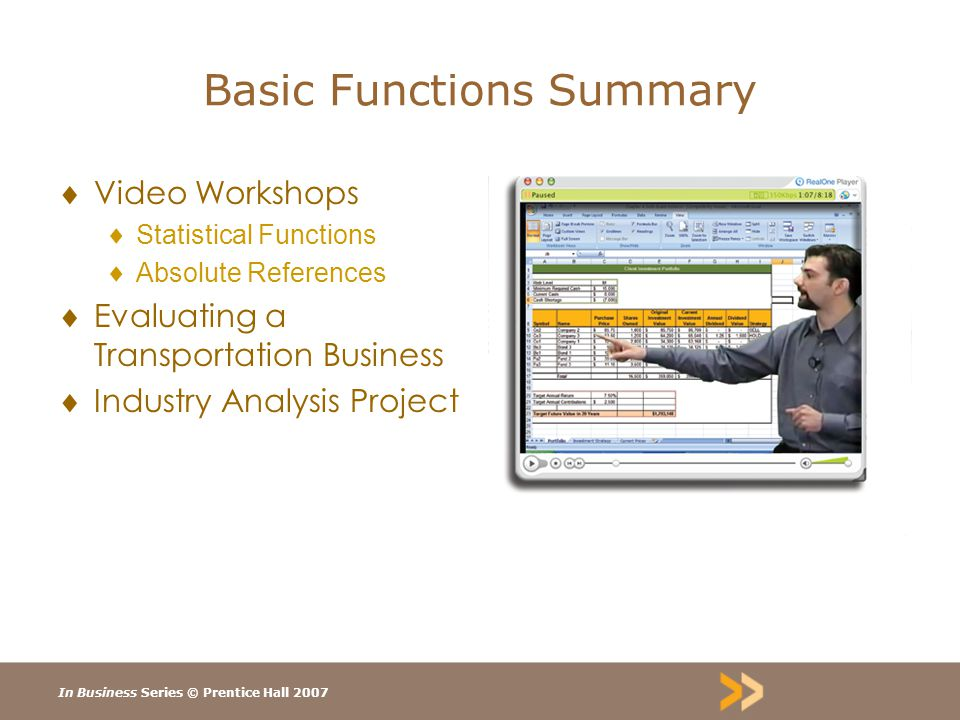 In Business Series © Prentice Hall 2007 Basic Functions Summary  Video Workshops  Statistical Functions  Absolute References  Evaluating a Transportation Business  Industry Analysis Project