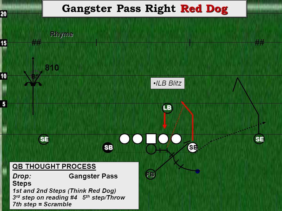 5 10 15 20Rhyme ## Gangster Pass Right Red Dog QB THOUGHT PROCESS Drop: Gangster Pass Steps 1st and 2nd Steps (Think Red Dog) 3 rd step on reading #4 5 th step/Throw 7th step = Scramble SE SB SE SB 810 FB ILB BlitzILB Blitz LB B5