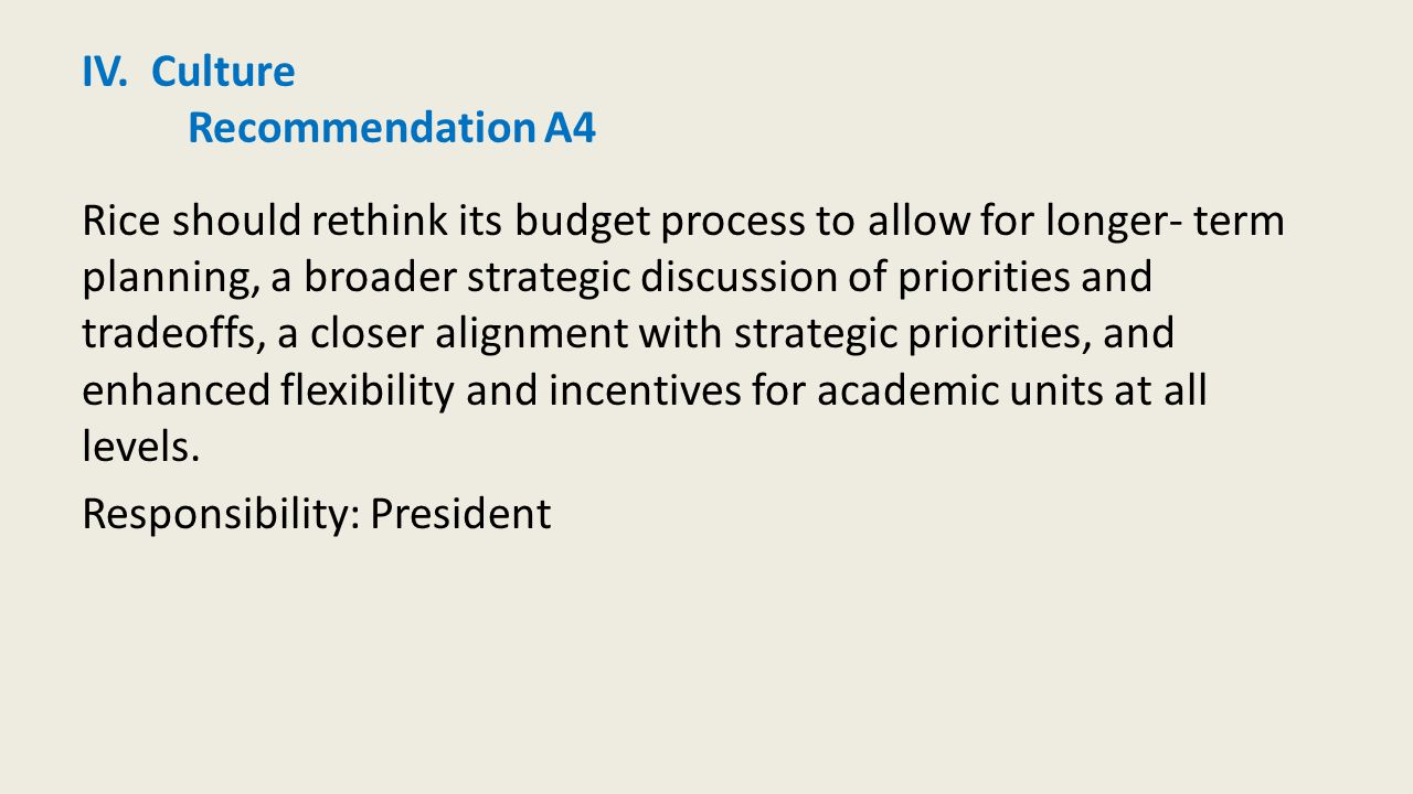 IV. Culture Recommendation A4 Rice should rethink its budget process to allow for longer- term planning, a broader strategic discussion of priorities