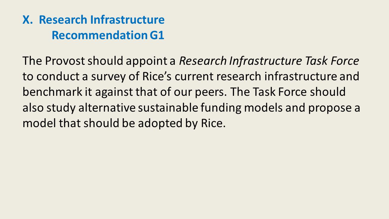 X. Research Infrastructure Recommendation G1 The Provost should appoint a Research Infrastructure Task Force to conduct a survey of Rice's current res