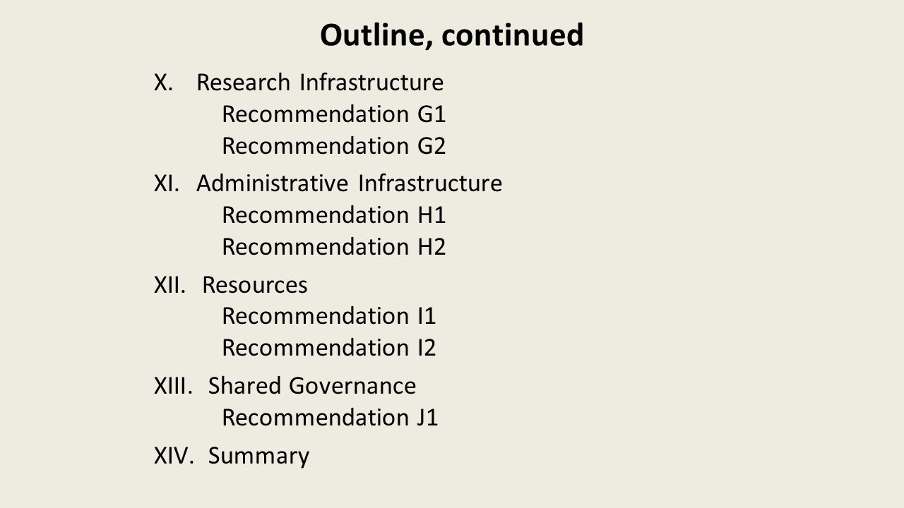 Outline, continued X.Research Infrastructure Recommendation G1 Recommendation G2 XI.Administrative Infrastructure Recommendation H1 Recommendation H2 XII.