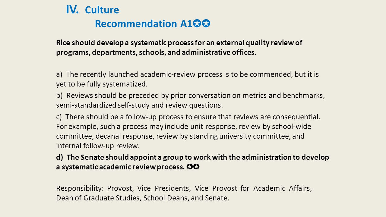 IV. Culture Recommendation A1 ✪✪ Rice should develop a systematic process for an external quality review of programs, departments, schools, and admini