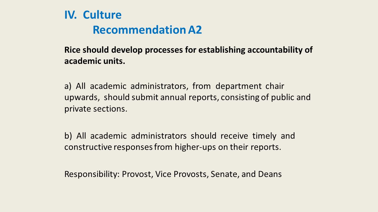 IV. Culture Recommendation A2 Rice should develop processes for establishing accountability of academic units. a) All academic administrators, from de