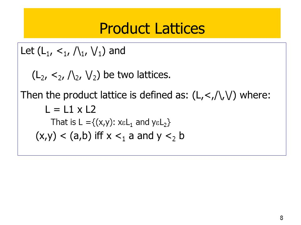 9 Example Product Lattice Lattice 1 (arrow means  ) Lattice 2  Lattice 1 x,y  x ',y ' means y '  y and x  x ' Lattice 2 (arrow means  )