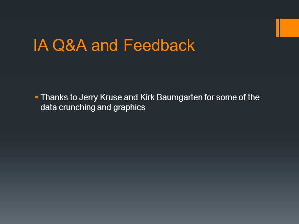 IA Q&A and Feedback  Thanks to Jerry Kruse and Kirk Baumgarten for some of the data crunching and graphics