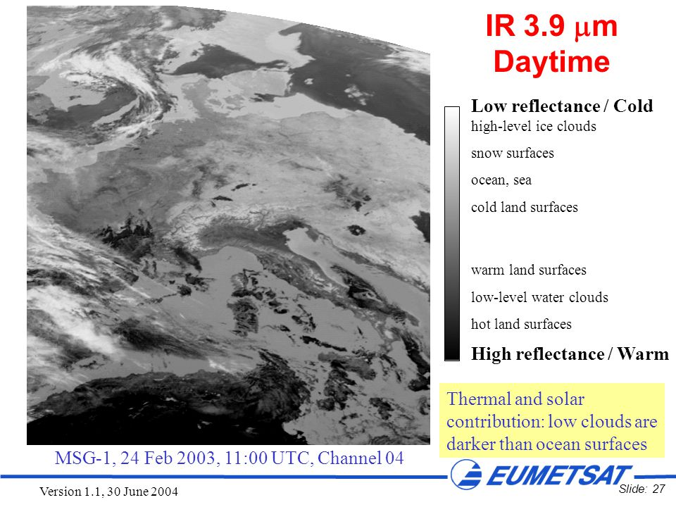 Slide: 27 Version 1.1, 30 June 2004 Low reflectance / Cold high-level ice clouds snow surfaces ocean, sea cold land surfaces warm land surfaces low-le