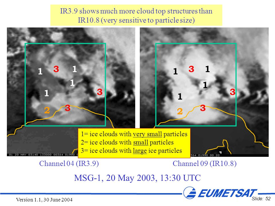 Slide: 52 Version 1.1, 30 June 2004 MSG-1, 20 May 2003, 13:30 UTC IR3.9: Cloud Particle Size Channel 04 (IR3.9) Channel 09 (IR10.8) IR3.9 shows much m
