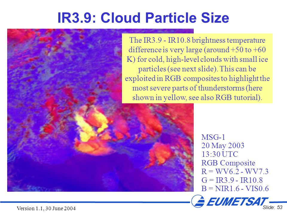 Slide: 53 Version 1.1, 30 June 2004 IR3.9: Cloud Particle Size The IR3.9 - IR10.8 brightness temperature difference is very large (around +50 to +60 K