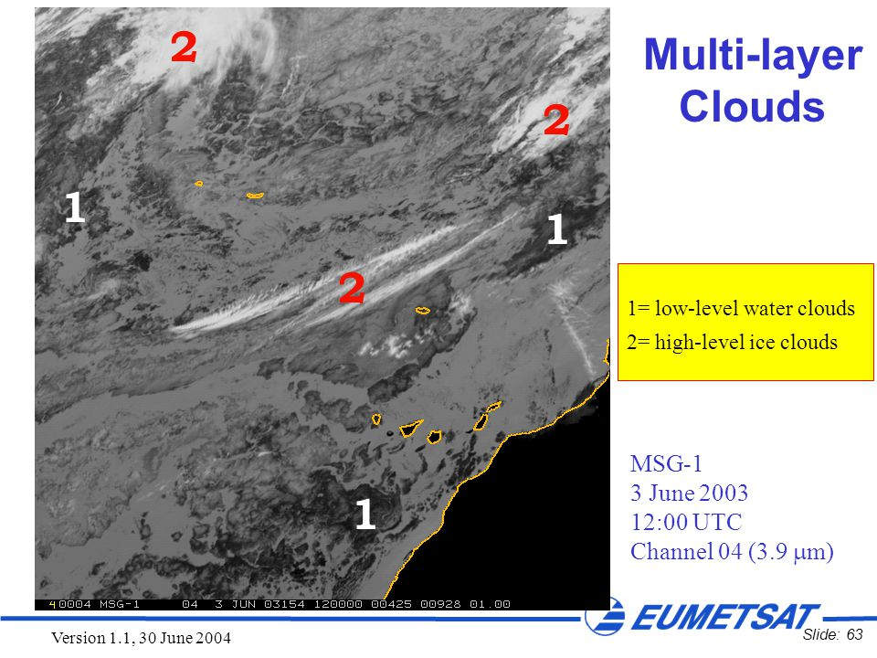Slide: 63 Version 1.1, 30 June 2004 Multi-layer Clouds MSG-1 3 June 2003 12:00 UTC Channel 04 (3.9  m) 1=low-level water clouds 2=high-level ice clou