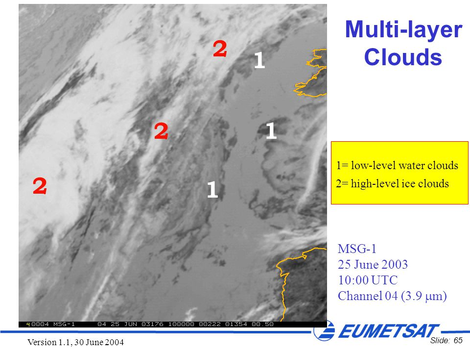 Slide: 65 Version 1.1, 30 June 2004 Multi-layer Clouds MSG-1 25 June 2003 10:00 UTC Channel 04 (3.9  m) 1=low-level water clouds 2=high-level ice clo