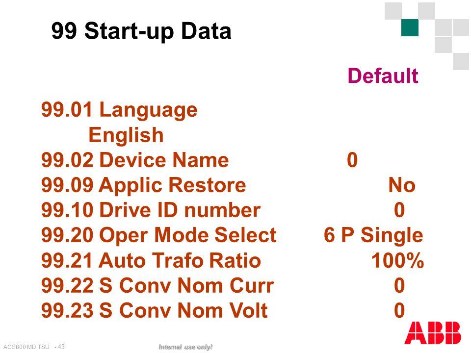 ACS800 MD TSU - 43 Internal use only! 99.01 Language English 99.02 Device Name 0 99.09 Applic Restore No 99.10 Drive ID number 0 99.20 Oper Mode Selec