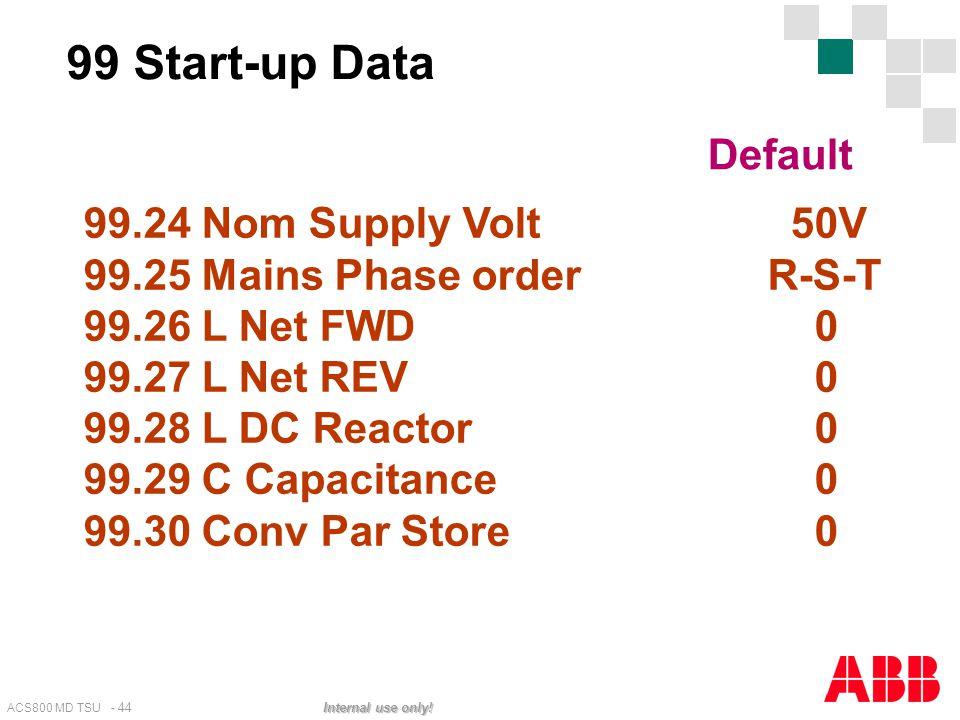 ACS800 MD TSU - 44 Internal use only! 99.24 Nom Supply Volt 50V 99.25 Mains Phase order R-S-T 99.26 L Net FWD 0 99.27 L Net REV 0 99.28 L DC Reactor 0
