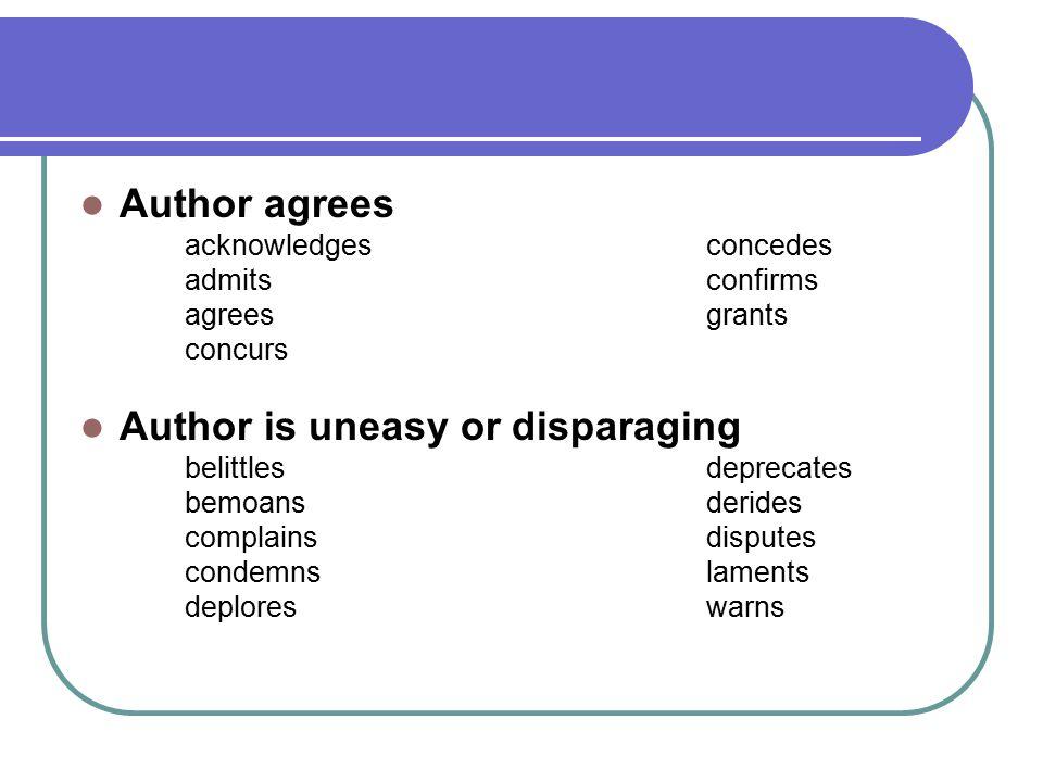 Author agrees acknowledgesconcedes admitsconfirms agreesgrants concurs Author is uneasy or disparaging belittlesdeprecates bemoansderides complainsdis