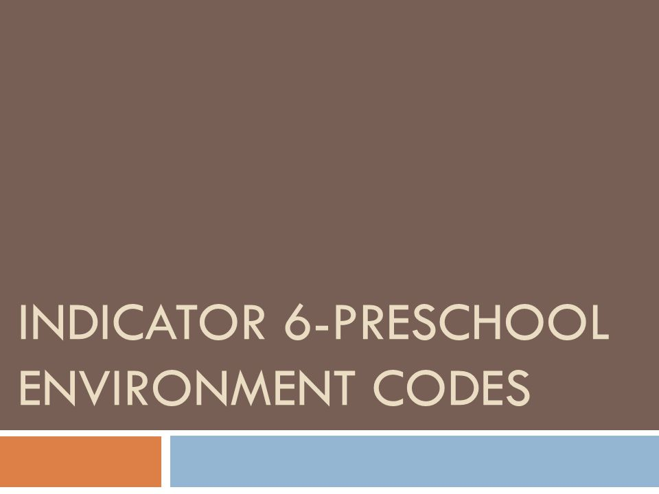 Indicator 6-Preschool Environment Codes  Percentage of children ages 3 through 5 with IEPs attending a:  A.