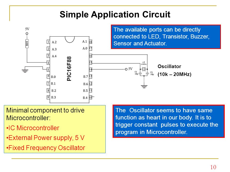 10 Simple Application Circuit Oscillator (10k – 20MHz) Minimal component to drive Microcontroller: IC Microcontroller External Power supply, 5 V Fixed