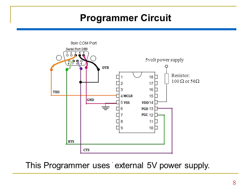 9 Simple Programmer This Programmer does not use external power supply but sources the power directly from serial port.