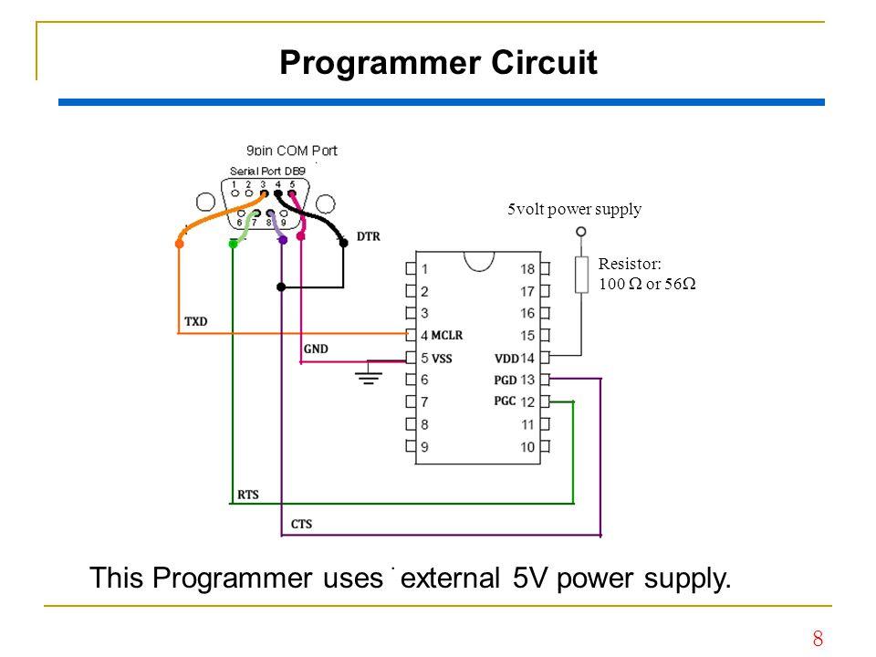 8 Programmer Circuit This Programmer uses external 5V power supply. 5volt power supply Resistor: 100  or 56 