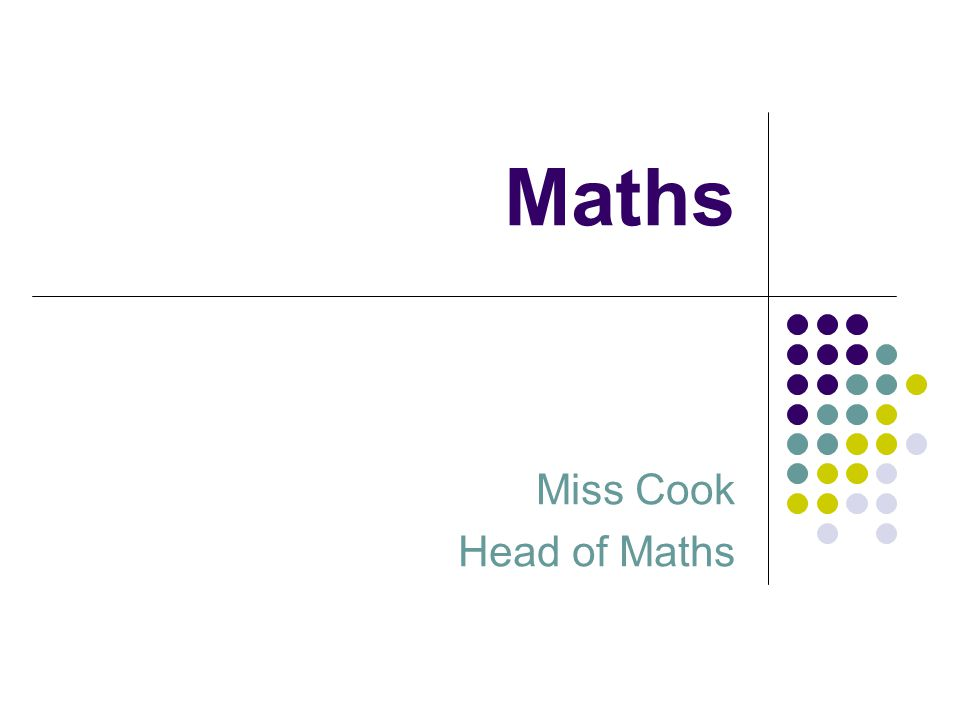Maths Miss Cook Head of Maths
