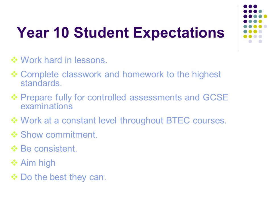 Year 10 Student Expectations  Work hard in lessons.