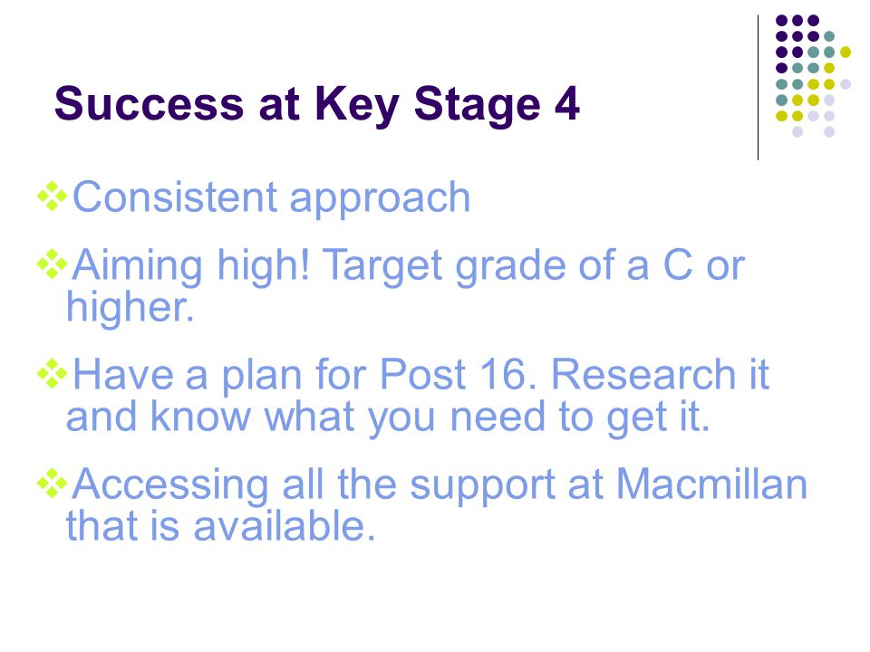 Success at Key Stage 4  Consistent approach  Aiming high.