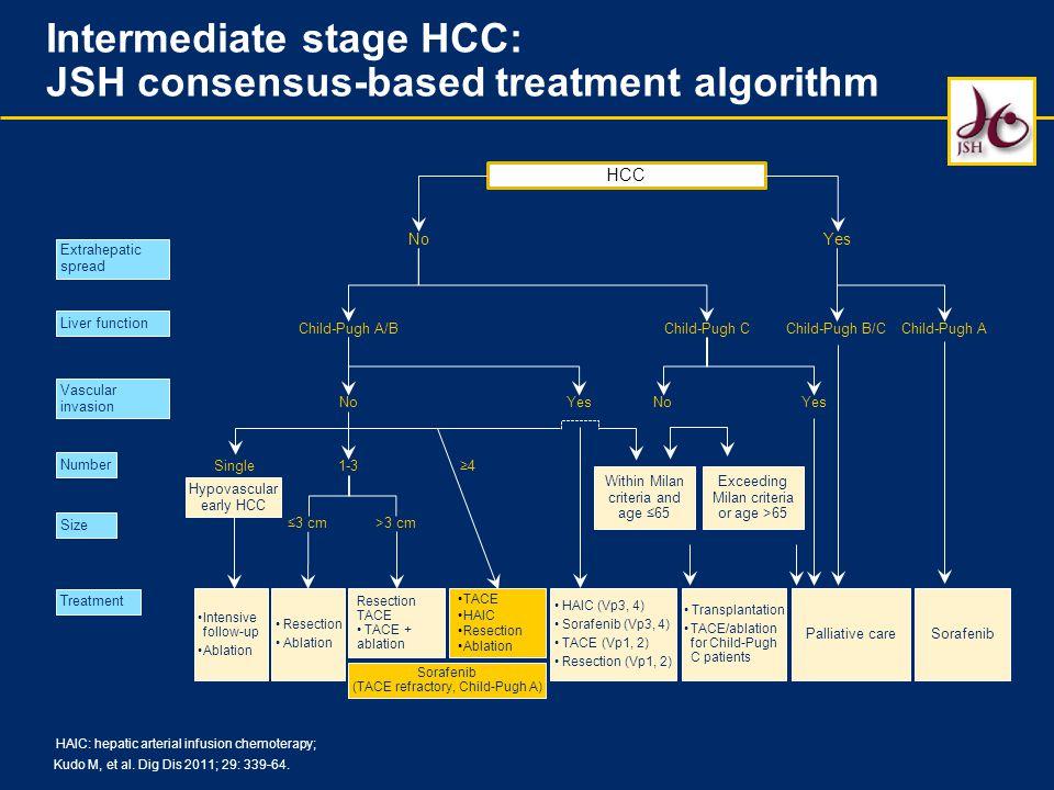 Kudo M, et al. Dig Dis 2011; 29: 339-64. HCC Extrahepatic spread Liver function Vascular invasion Number Size Treatment NoYes Child-Pugh A/B No 1-3Sin