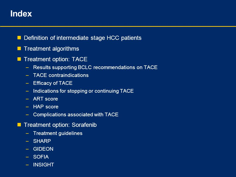 Index Definition of intermediate stage HCC patients Treatment algorithms Treatment option: TACE –Results supporting BCLC recommendations on TACE –TACE