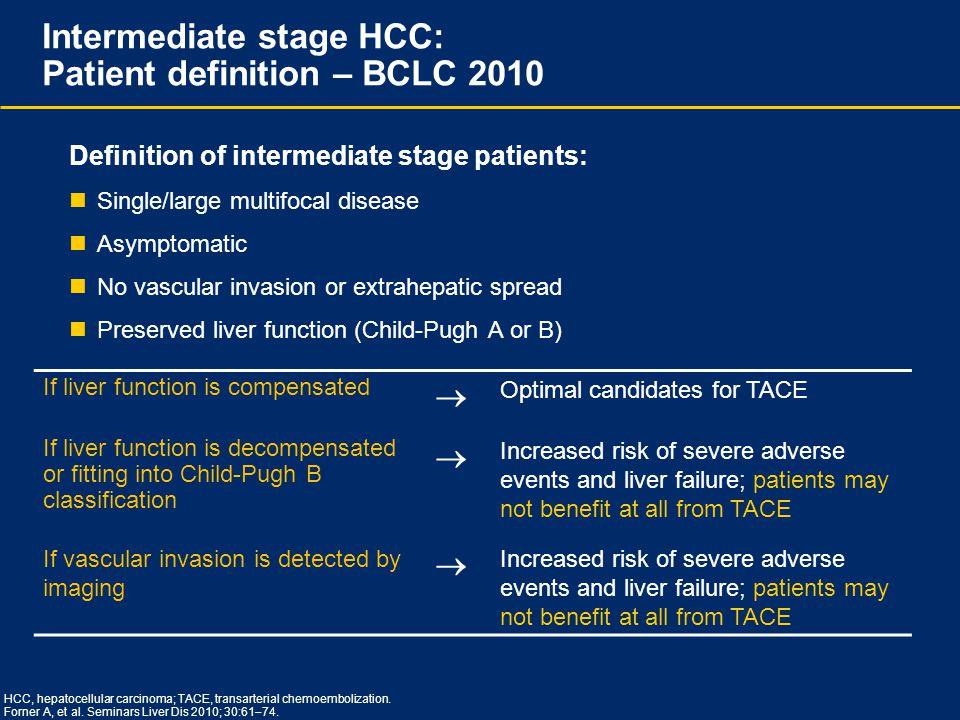 HCC, hepatocellular carcinoma; TACE, transarterial chemoembolization. Forner A, et al. Seminars Liver Dis 2010; 30:61  74. Intermediate stage HCC: Pa
