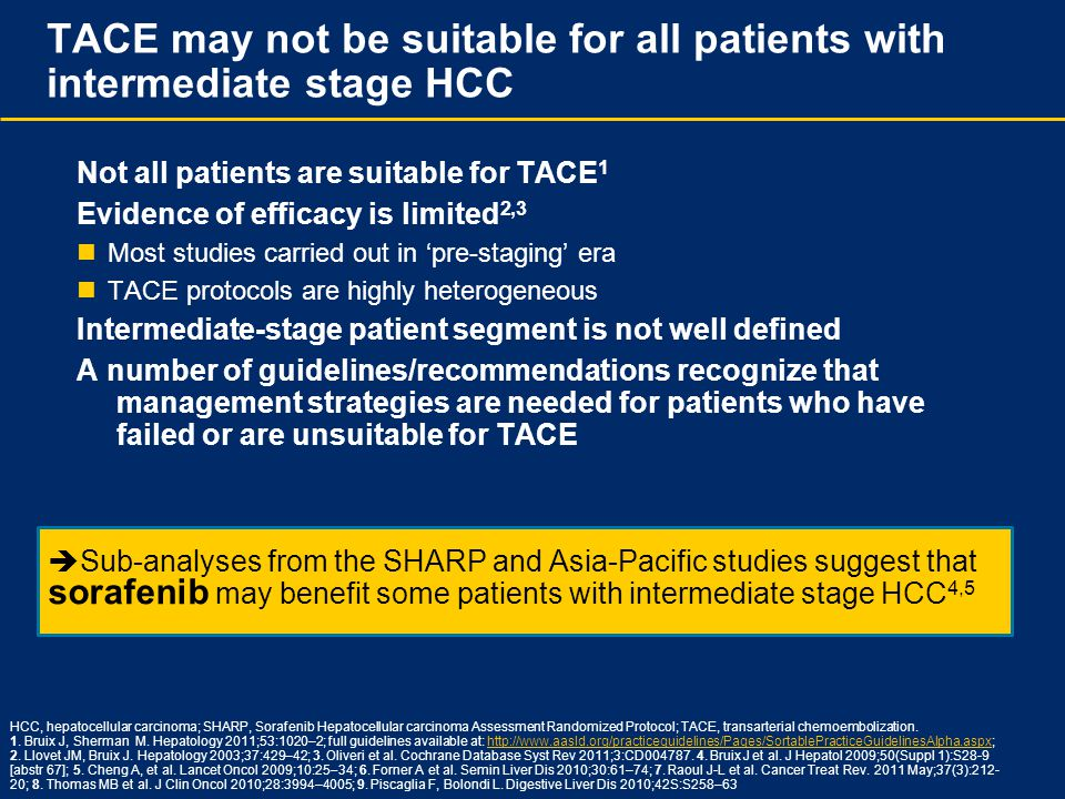  Sub-analyses from the SHARP and Asia-Pacific studies suggest that sorafenib may benefit some patients with intermediate stage HCC 4,5 TACE may not b