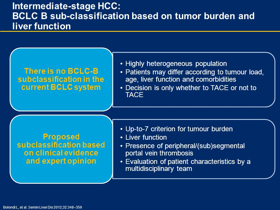 Highly heterogeneous population Patients may differ according to tumour load, age, liver function and comorbidities Decision is only whether to TACE o