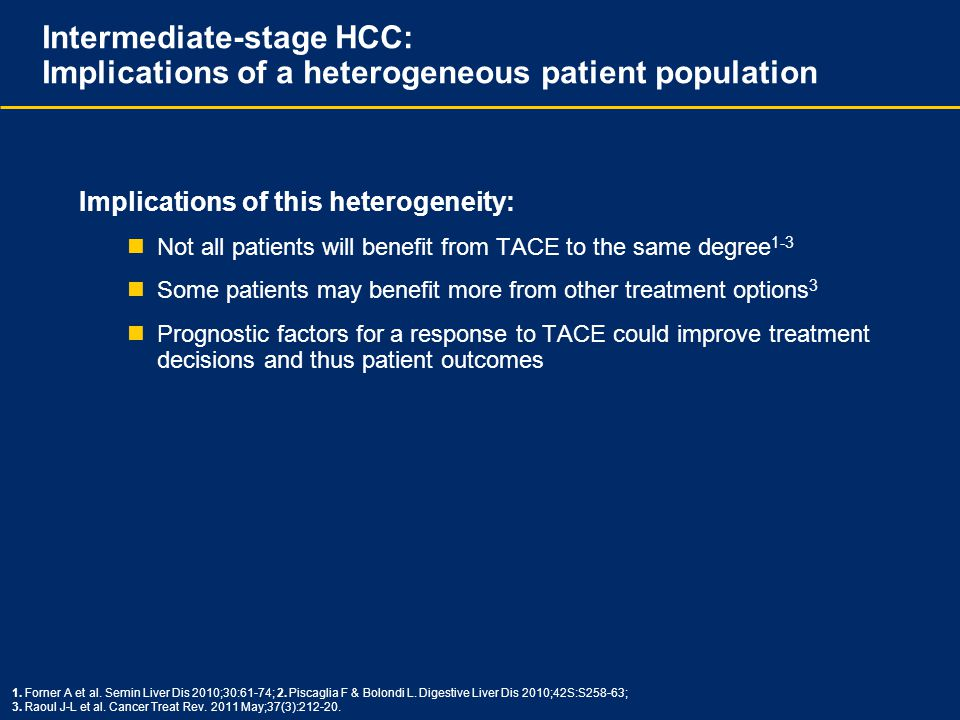 Intermediate-stage HCC: Implications of a heterogeneous patient population Implications of this heterogeneity: Not all patients will benefit from TACE