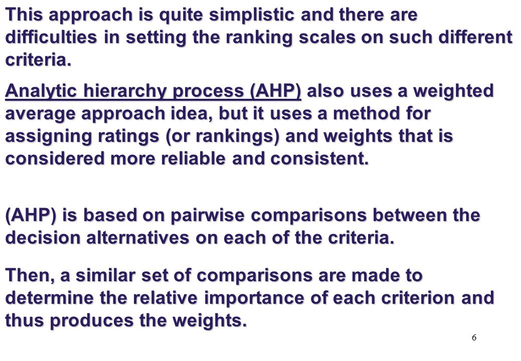 27 The mathematics of AHP Suppose we already know the weights [w1, w2, w3,...