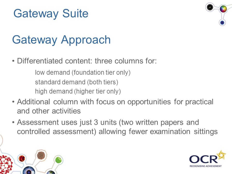 Gateway Approach Differentiated content: three columns for: low demand (foundation tier only) standard demand (both tiers) high demand (higher tier on
