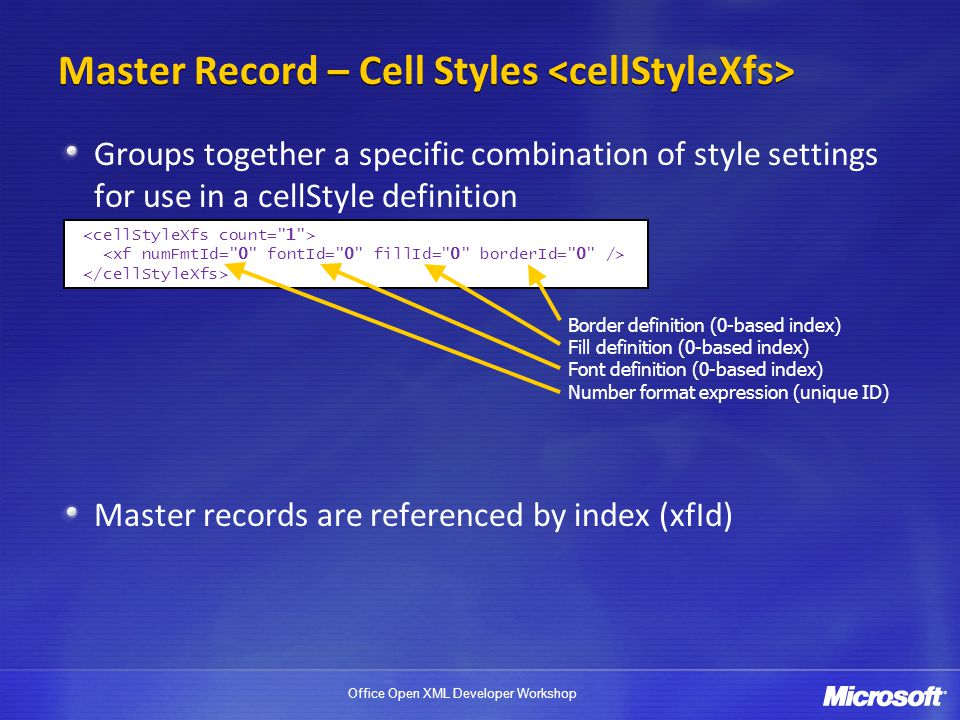 Office Open XML Developer Workshop Master Record – Cell Styles Groups together a specific combination of style settings for use in a cellStyle definit