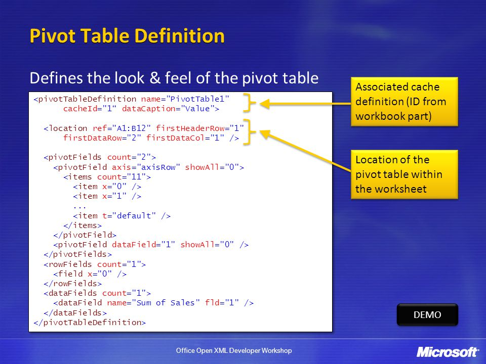 Office Open XML Developer Workshop Pivot Table Definition Defines the look & feel of the pivot table <pivotTableDefinition name=