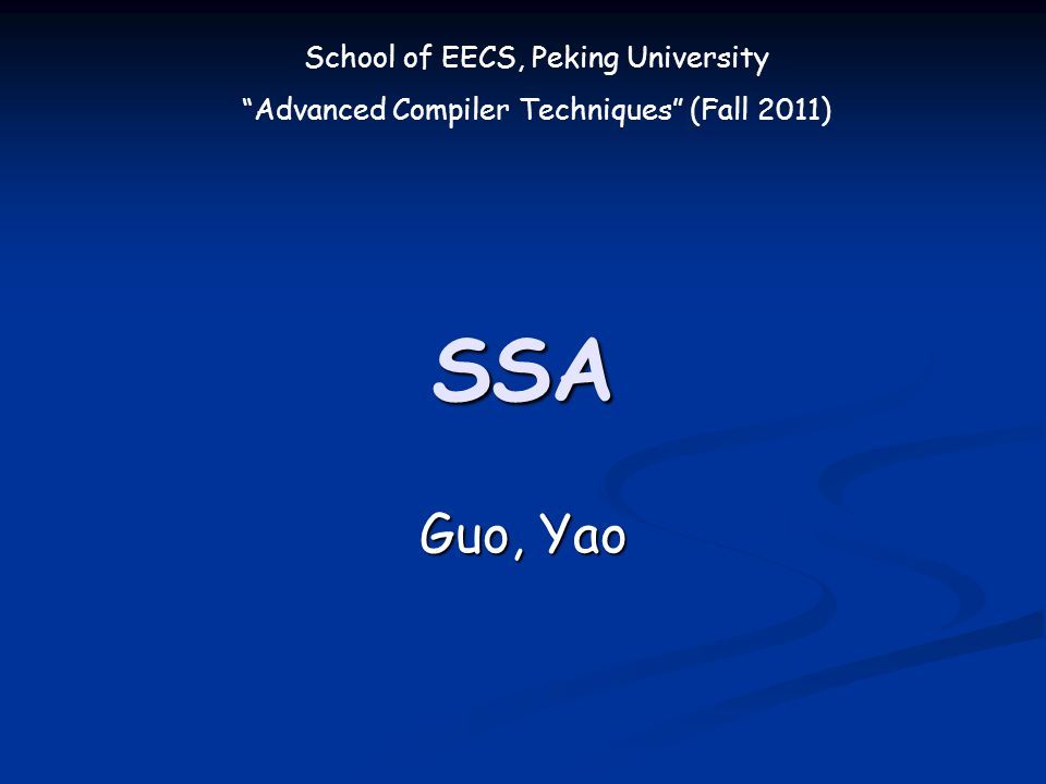 2 Fall 2011 Advanced Compiler Techniques Content SSA Introduction SSA Introduction Converting to SSA Converting to SSA SSA Example SSA Example SSAPRE SSAPRE Reading Reading Tiger Book: 19.1, 19.3 Tiger Book: 19.1, 19.3 Related Papers Related Papers
