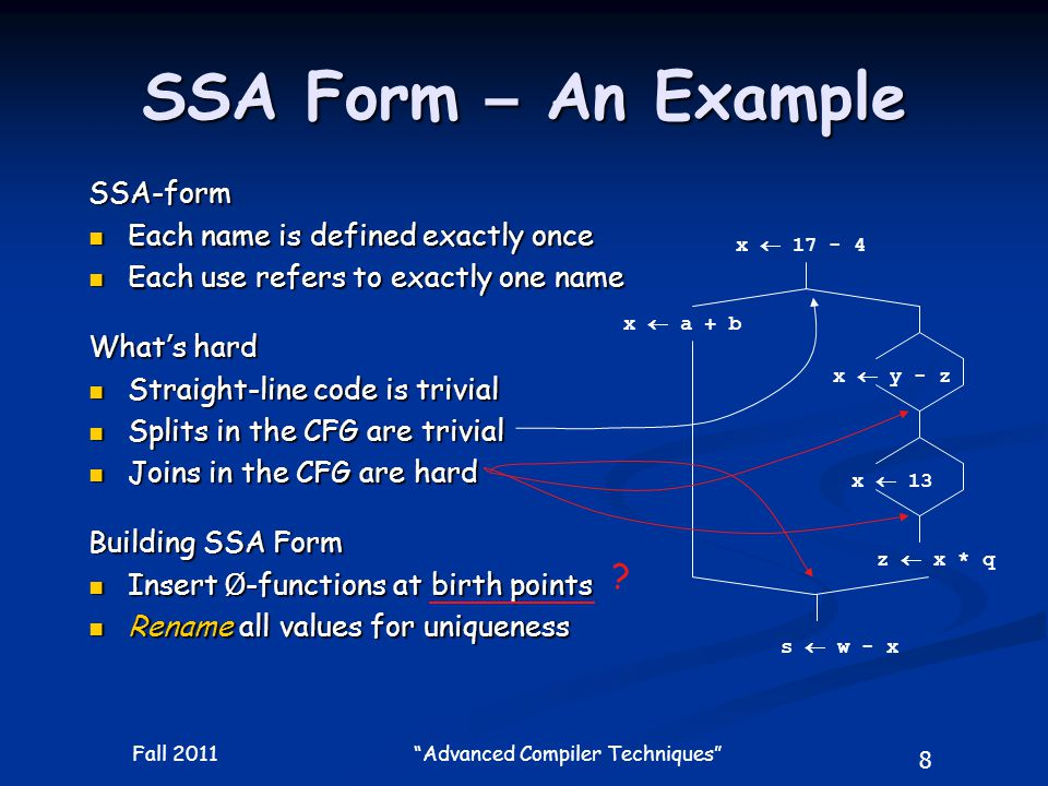 19 Fall 2011 Advanced Compiler Techniques A Loop Example a  0 b  a+1 c  c+b a  b*2 if a < N return a1  0 a3   (a1,a2) b2   (b0,b2) c2   (c0,c1) b2  a3+1 c1  c2+b2 a2  b2*2 if a2 < N return  (b0,b2) is not necessary because b0 is never used.