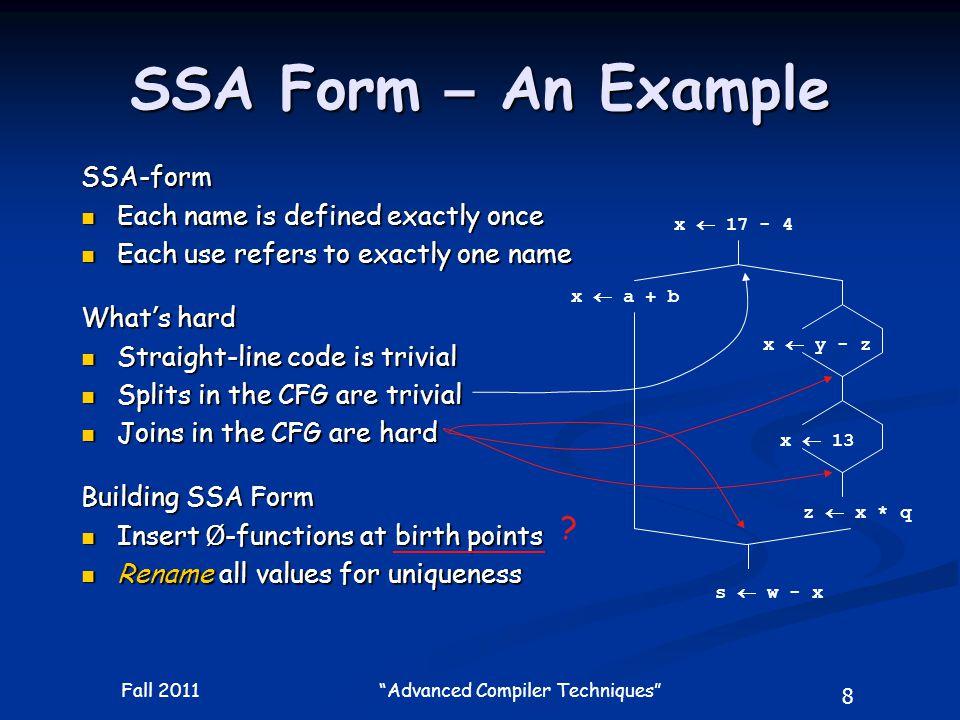 59 Fall 2011 Advanced Compiler Techniques SSA Example: Constant and Copy Propagation k3  k2+1 return j2 j2   (j4,1) k2   (k4,0) if k2<100 j4  1 k4  k3 B2 B5 B7 k3  k2+1 return j2 j2   (1,1) k2   (k3,0) if k2<100 j4  1 k4  k3 B2 B5 B7 B4