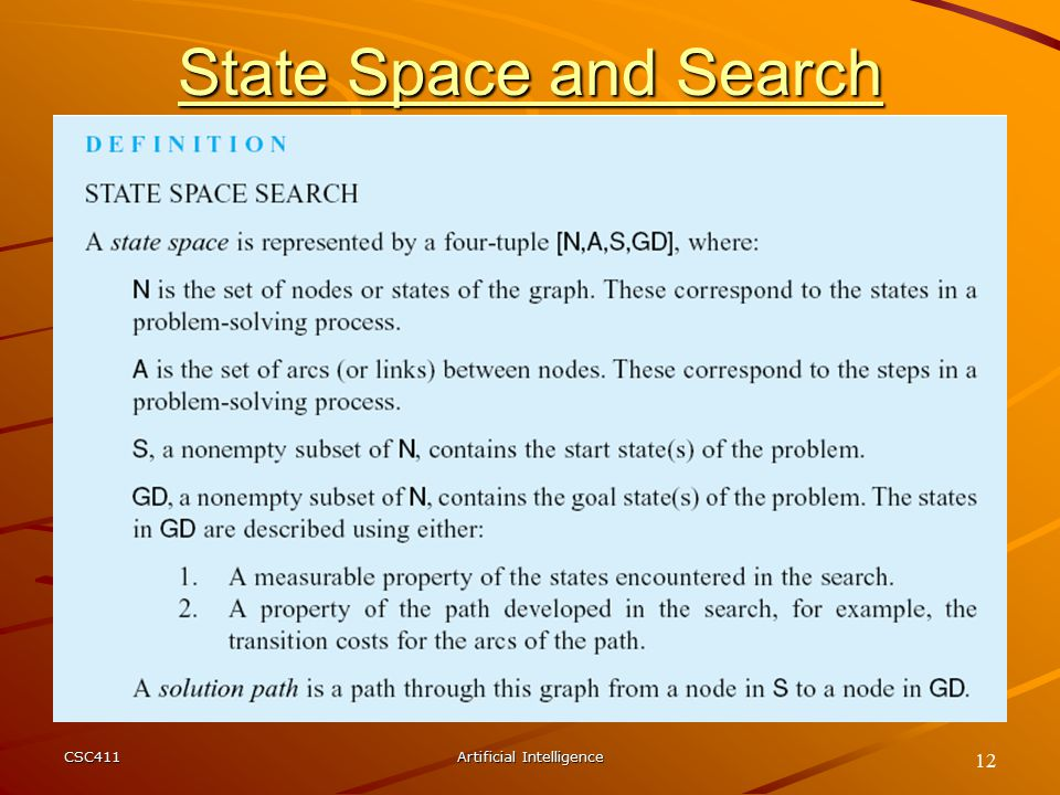 CSC411Artificial Intelligence 12 State Space and Search