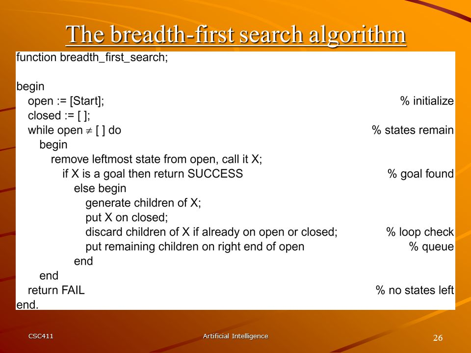 CSC411Artificial Intelligence 26 The breadth-first search algorithm