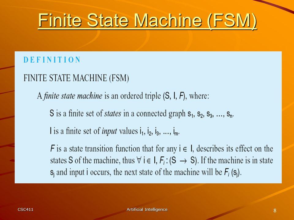 CSC411Artificial Intelligence 8 Finite State Machine (FSM)