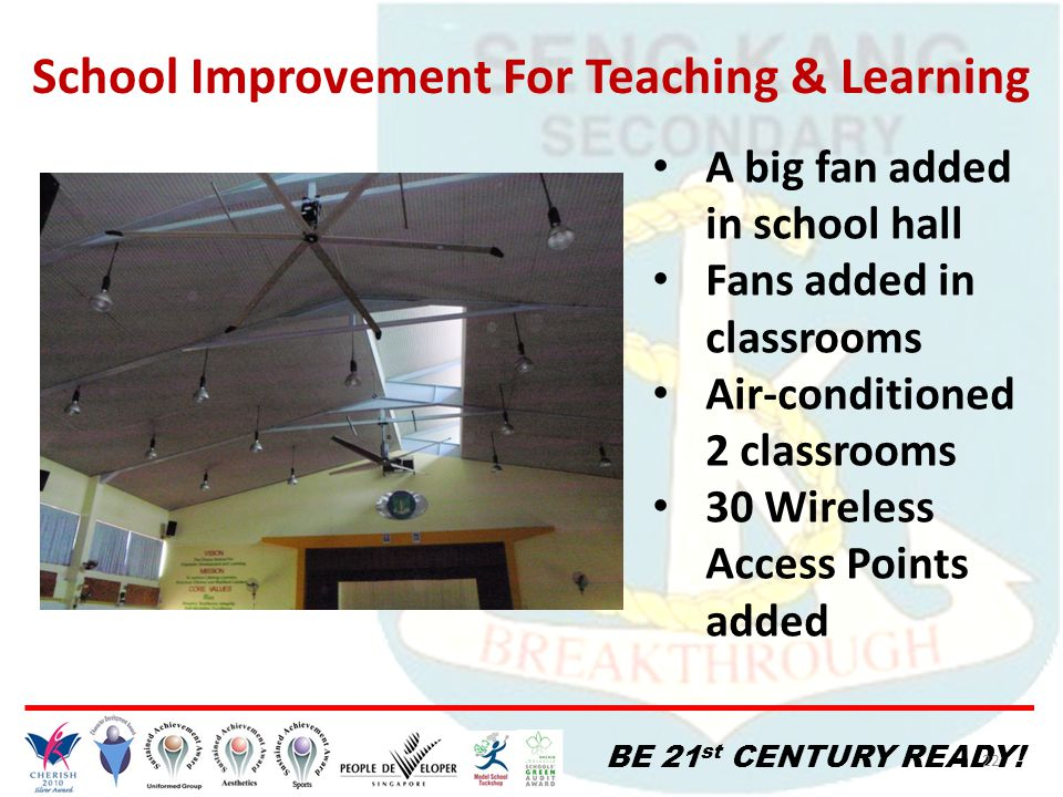 BE 21 st CENTURY READY! 22 School Improvement For Teaching & Learning A big fan added in school hall Fans added in classrooms Air-conditioned 2 classr