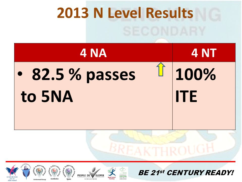 BE 21 st CENTURY READY! 2013 N Level Results 4 NA4 NT 82.5 % passes to 5NA 100% ITE