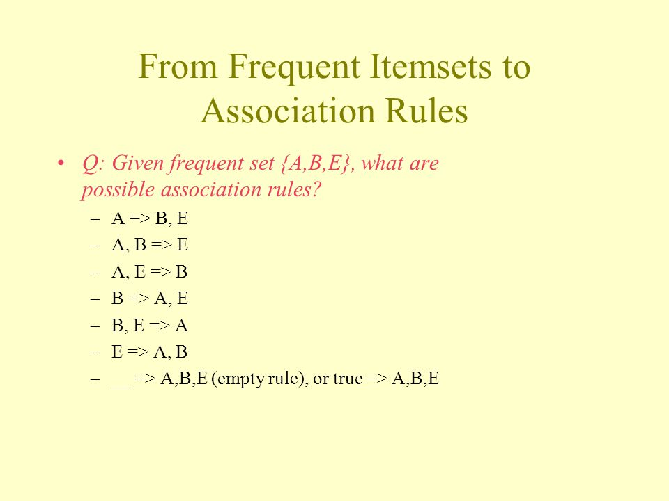 From Frequent Itemsets to Association Rules Q: Given frequent set {A,B,E}, what are possible association rules.