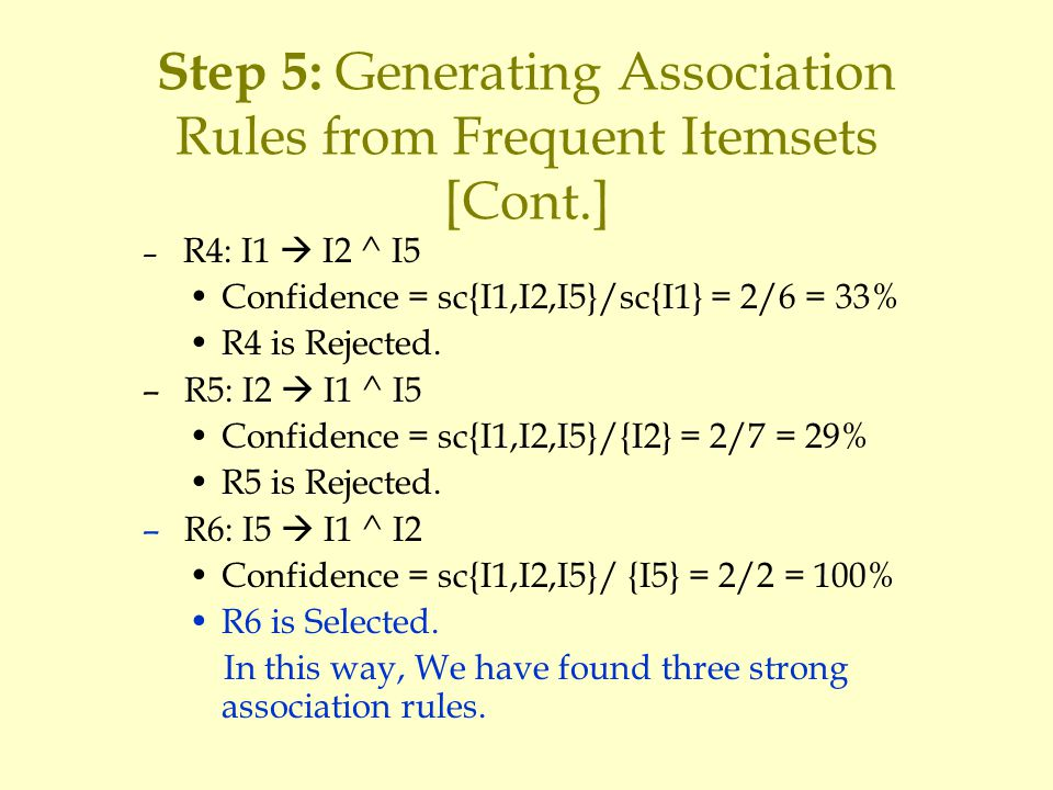Step 5: Generating Association Rules from Frequent Itemsets [Cont.] – R4: I1  I2 ^ I5 Confidence = sc{I1,I2,I5}/sc{I1} = 2/6 = 33% R4 is Rejected.