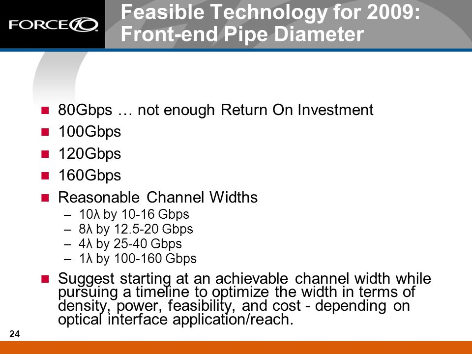 24 Feasible Technology for 2009: Front-end Pipe Diameter 80Gbps … not enough Return On Investment 100Gbps 120Gbps 160Gbps Reasonable Channel Widths –1