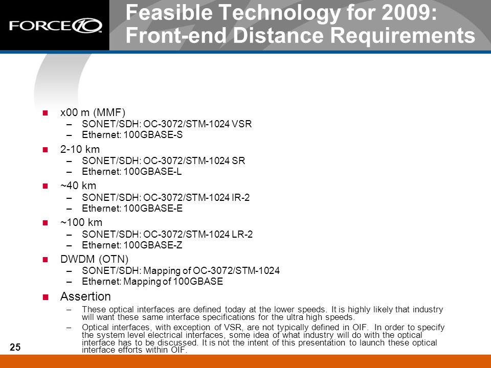 25 Feasible Technology for 2009: Front-end Distance Requirements x00 m (MMF) –SONET/SDH: OC-3072/STM-1024 VSR –Ethernet: 100GBASE-S 2-10 km –SONET/SDH