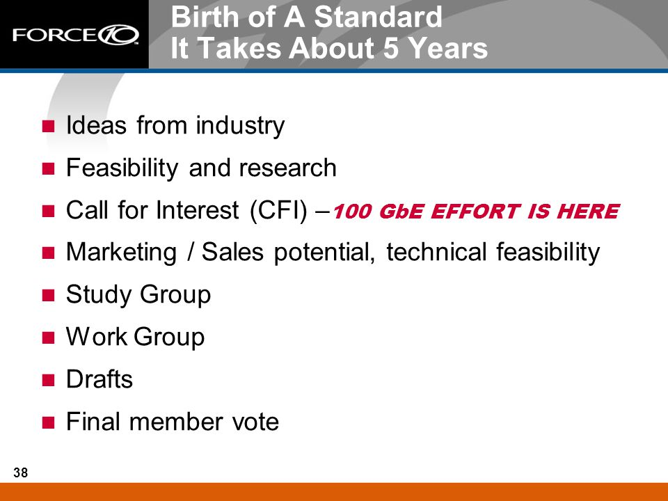 38 Birth of A Standard It Takes About 5 Years Ideas from industry Feasibility and research Call for Interest (CFI) – 100 GbE EFFORT IS HERE Marketing