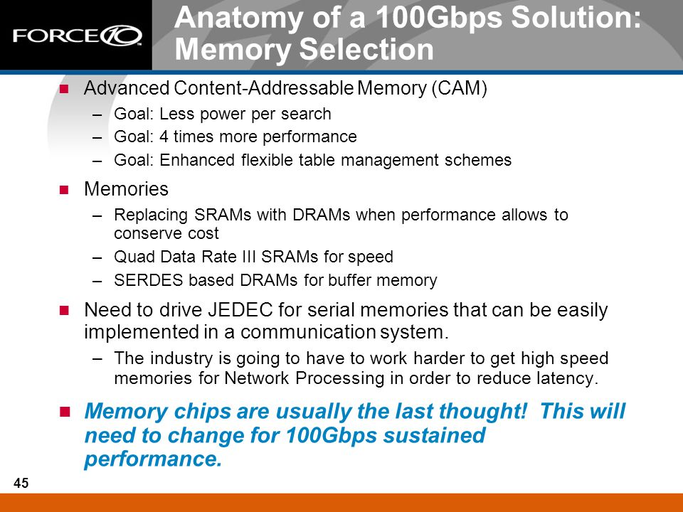 45 Anatomy of a 100Gbps Solution: Memory Selection Advanced Content-Addressable Memory (CAM) –Goal: Less power per search –Goal: 4 times more performa