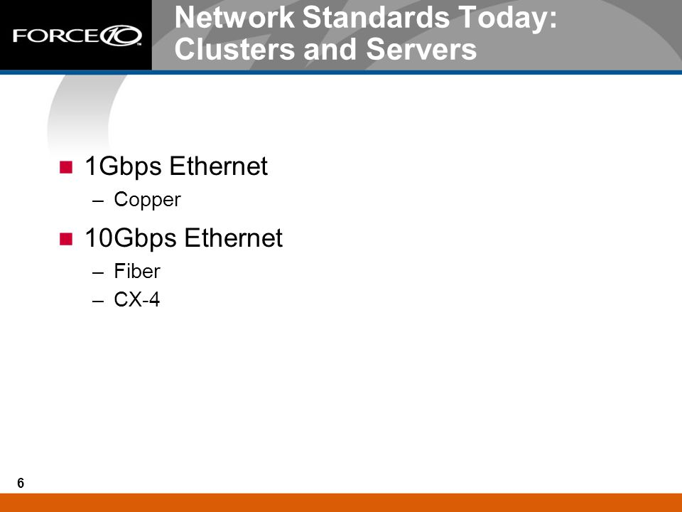 6 Network Standards Today: Clusters and Servers 1Gbps Ethernet –Copper 10Gbps Ethernet –Fiber –CX-4