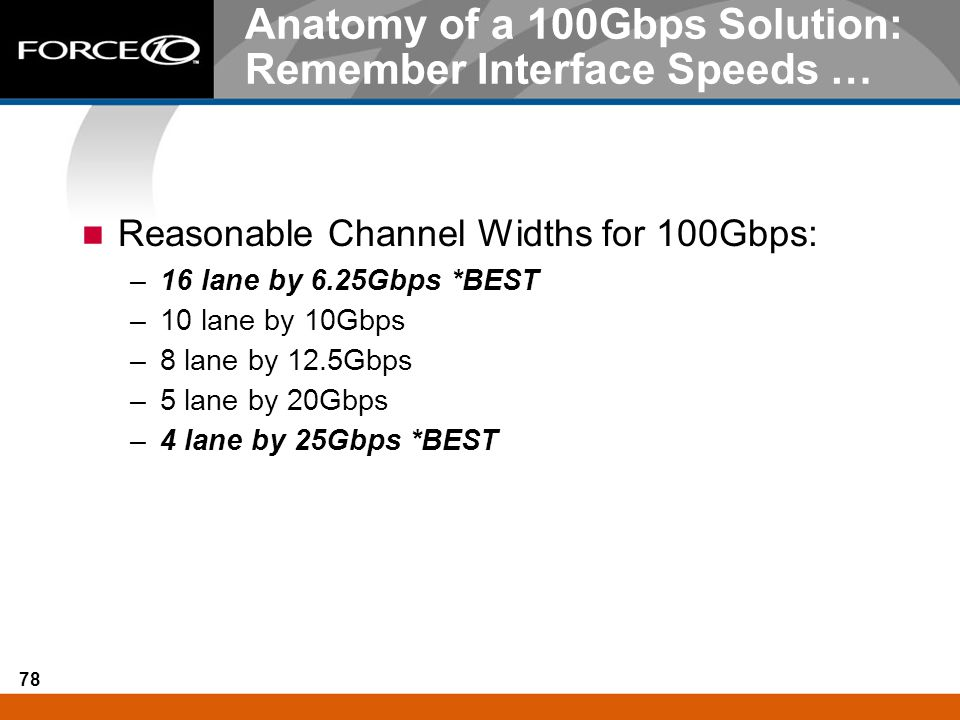 78 Anatomy of a 100Gbps Solution: Remember Interface Speeds … Reasonable Channel Widths for 100Gbps: –16 lane by 6.25Gbps *BEST –10 lane by 10Gbps –8